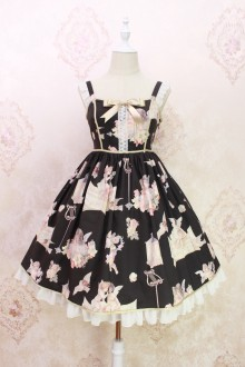 Alice Girl Oil Painting Angel Print Bow Lolita JSK Dress 4 Colors