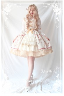 Alice Girl Chandelier Print Lace Ruffles Cardigan Lolita JSK Dress 4 Colors