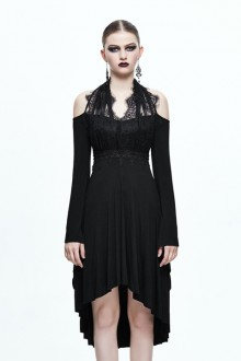 Black Slim Lace Split Gothic Lolita Dress