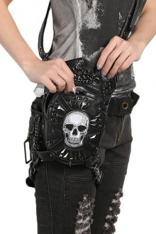 Women's Vintage Steampunk Black Skull Shoulder Bag Crossbody Bag
