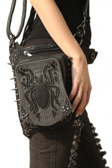 Women's Vintage Steampunk Black Spider Shoulder Bag Crossbody Bag