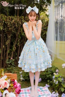 Magic Tea Party Original Printing Cat And Orange Sauce Chiffon Lolita JSK Version 2 4 Colors