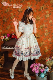 Magic Tea Party Ice Cream Party Short Sleeves Sweet Lolita OP Dress 2 Colors
