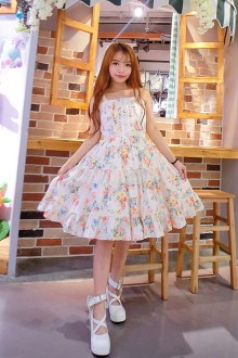 Lace Sleeveless Flower Printing Sweet Lolita JSK Dress
