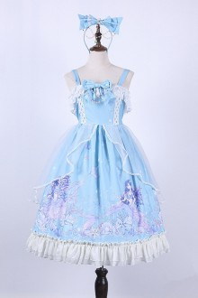 The Deep Sea Song Of The Mermaid Printing Ruffles Sweet Lolita JSK Dress 4 Colors