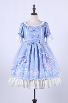 The Deep Sea Song Of The Mermaid Printing Ruffles Sweet Lolita OP Dress 4 Colors