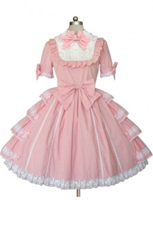 Pink Princess Cake Pure Cotton Bowknot Sweet Lolita Dress