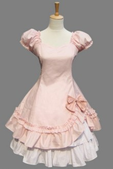 Pink Cotton Short Sleeves Cake Sweet Lolita Dress