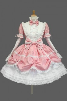 Cute Stand Collar Bowknot Sweet Lolita Dress 4 Colors