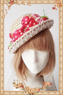 Sweet Strawberry Infanta Lolita Flat Straw Hat