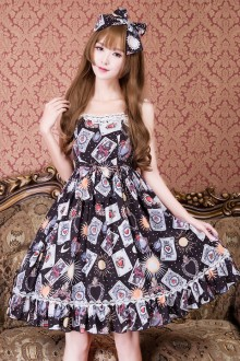 Magic Poker Vintage Printing Sweet Lolita JSK Dress