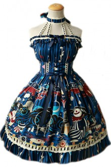 Magic Tea Party Circus Girl Original Print 2wayOP Gothic Lolita Dress