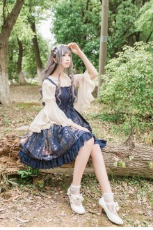 Castle Elf Vintage Print Sweet Lolita JSK Dress 3 colors