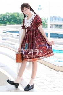 Royal Trojan Red Print Sweet Lolita Op Dress