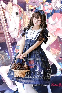 Royal Trojan Dark Blue Print Sweet Lolita Op Dress