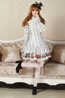 Original Christmas Lucky Star Print Sweet Lolita JSK Dress