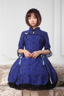 Original Vintage Blue Print Sweet Lolita JSK Dress