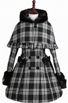 Original Autumn And Winter 2018 New Lattice Double-Breasted Sweet Lolita Coat