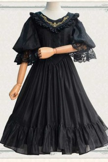 New V-neck Embroidered Lace Cropped Sleeve Sweet Lolita Dress 2 Colors