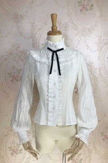 Fashion Jacquard Cotton Long Sleeve Sweet Lolita Blouse 3 Colors