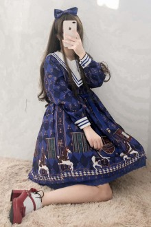 "Original ""Trojans"" Print Long Sleeve Navy Collar Sweet Lolita Dress 2 Colors"