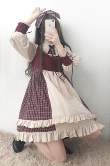 "Original ""Red Berries"" Long Sleeve Sweet OP Dress"