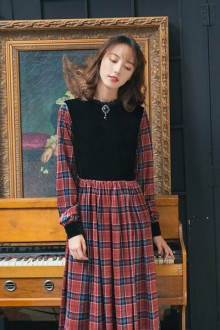 ●Miss Point ● 2019 New Old Time Retro England Plaid Velvet Sweet Lolita Dress 2 Colors