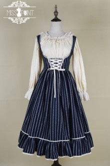 ●Miss Point ●Jinifer - Retro Toned Chest Stripes Sweet Lolita Dress 2 Colors