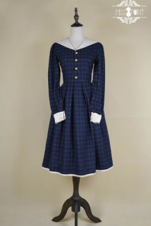 ●Miss Point ●Mercer British College Long Sailor Collar Lattice Sweet Lolita Dress 2 Colors