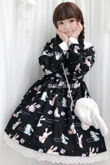 "Original New Black Retro ""Musical Instrument Bunny"" Sweet Lolita Dress"