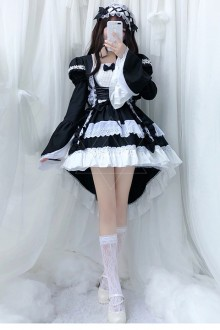 Original 2019 New Black And White Maid Gothic Lolita Dress