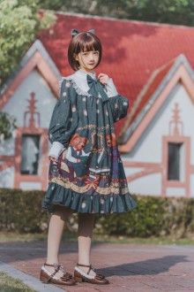 "Original 2019 New ""Detective Bear"" Long Sleeve Sweet Lolita OP Dress"