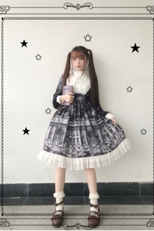 "Original ""Theological Seminary"" Black Retro Building Gothic Lolita OP Dress"