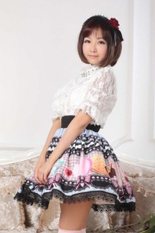 Original Printed Lace Trim Sweet Lolita Skirt SK