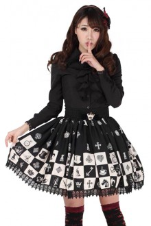 "Original Black ""Alice Chess Lattice"" Lace Side Sweet Lolita Skirt SK"