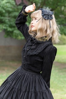 Original Vintage Corduroy Thickening Dark Gothic Lolita Blouse 2 Colors