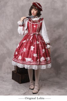 "Original ""Autumn Letter"" Print Sweet Lolita JSK Dress"