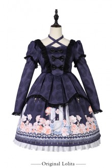 "Original ""Candle Light Whisper"" Print Gothic Lolita OP Dress"