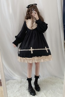 Original Design Genuine Cross Long Sleeve Sweet Lolita OP Dress 2 Colors