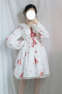 "Original ""Musical Instrument Rabbit"" Long Sleeve Lace Doll Collar Sweet Lolita JSK Dress 2 Color"