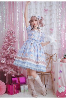 Van Gogh Dream New Short Sleeve Sweet Lolita Dress 3 Colors