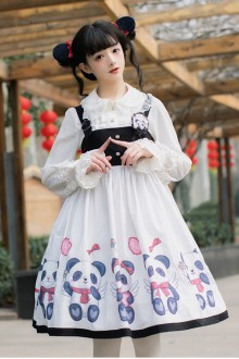 Original <Panda> Black and White Sweet Lolita JSK Dress