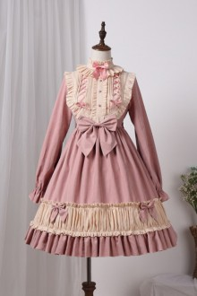 Original New Solid Color Long Sleeve Sweet Lolita OP Dress 3 Color