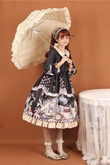 Original Cute Vintage Print Sleeves Sweet Lolita OP Dress 3 Colors