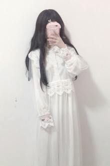 Original New Bud Silk Yarn Long Sleeve Student Sweet Lolita Dress 2 Color