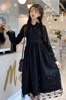 Original New Retro Black Lace College Wind Long Sleeve Sweet Lolita Dress Bottom Skirt