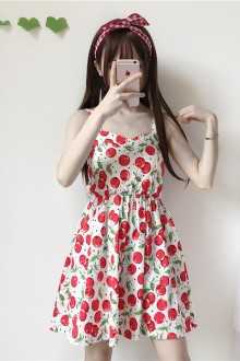 2019 New Cherry Print Sling Sleeveless Sweet Lolita Dress 2 Colors