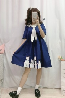 "Japanese Navy ""Cute Cat"" Sweet Lolita Dress 2 Colors"