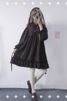 Original Japanese Long Sleeve Doll Chiffon Sweet Lolita Dress