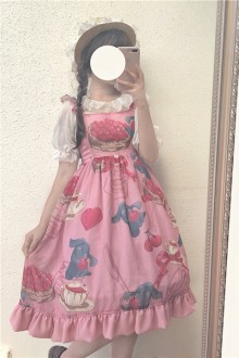 "Original Design ""Cherry Love Rabbit"" Sweet Lolita JSK Dress 2 Colors"